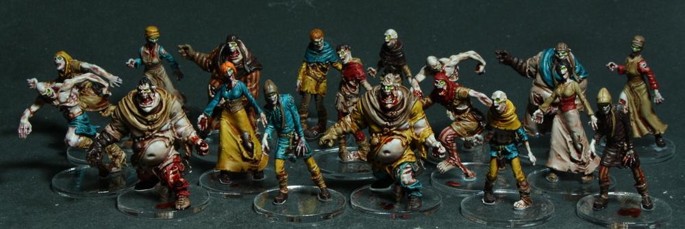 Zombies de Zombicide Black Plague, lignes 4 et 5...